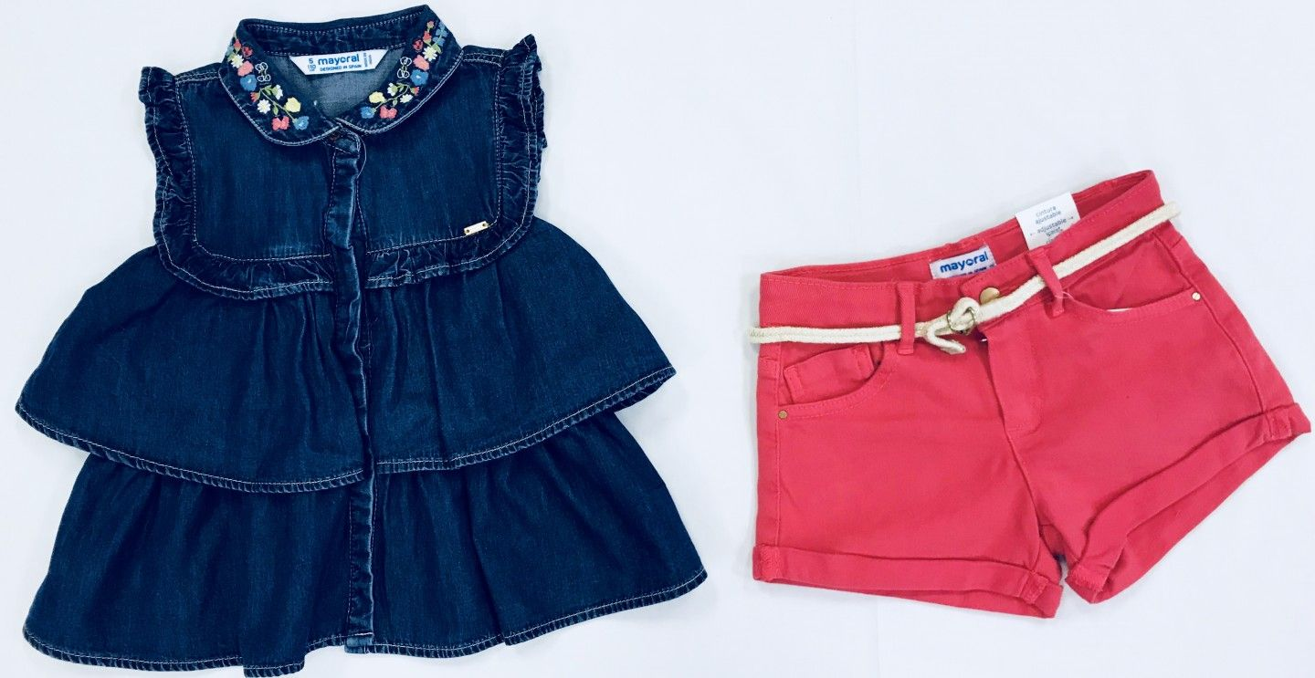JEAN TOP WITH PINK SHORTS 2-PIECE SET SIZES 3-8