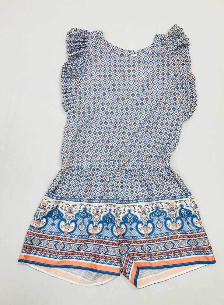 BLUE AND ORANGE ROMPER SIZES 12-18