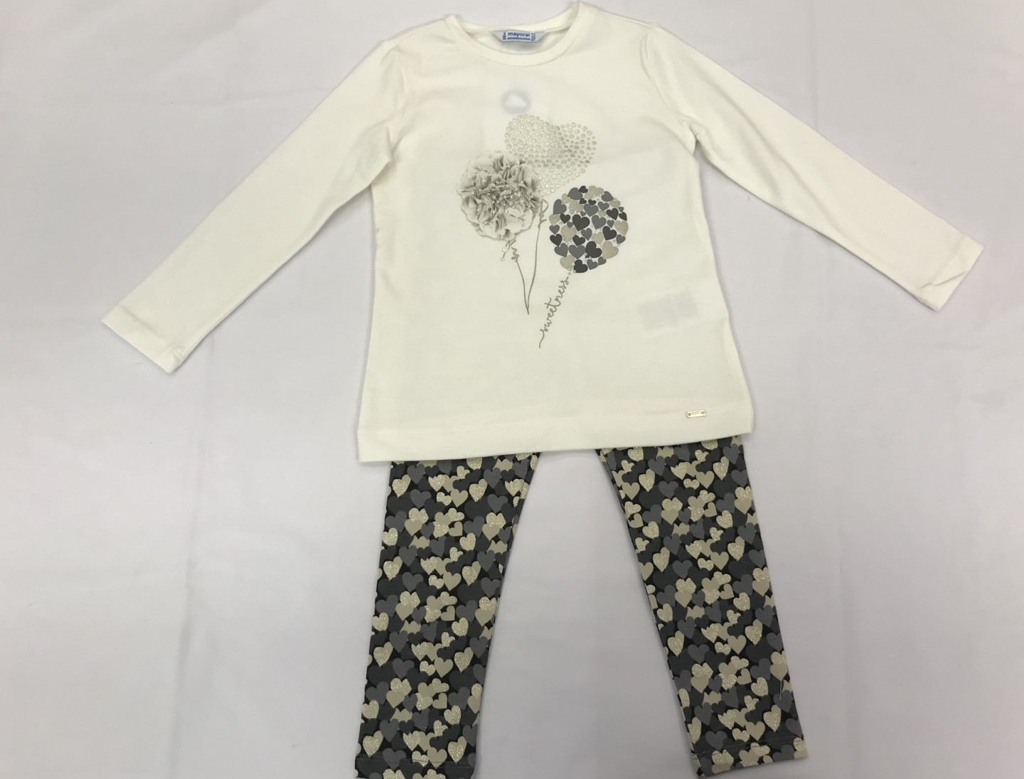 MAYORAL IVORY, GREY AND GOLD GLITTER HEARTS TOP AND LEGGINGS