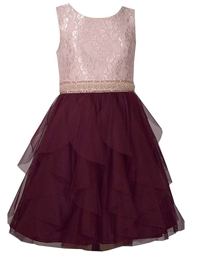 BONNIE JEAN PINK LACE BODICE WITH BURGUNDY CHIFFON LAYERED BOTTOM DRE3SS