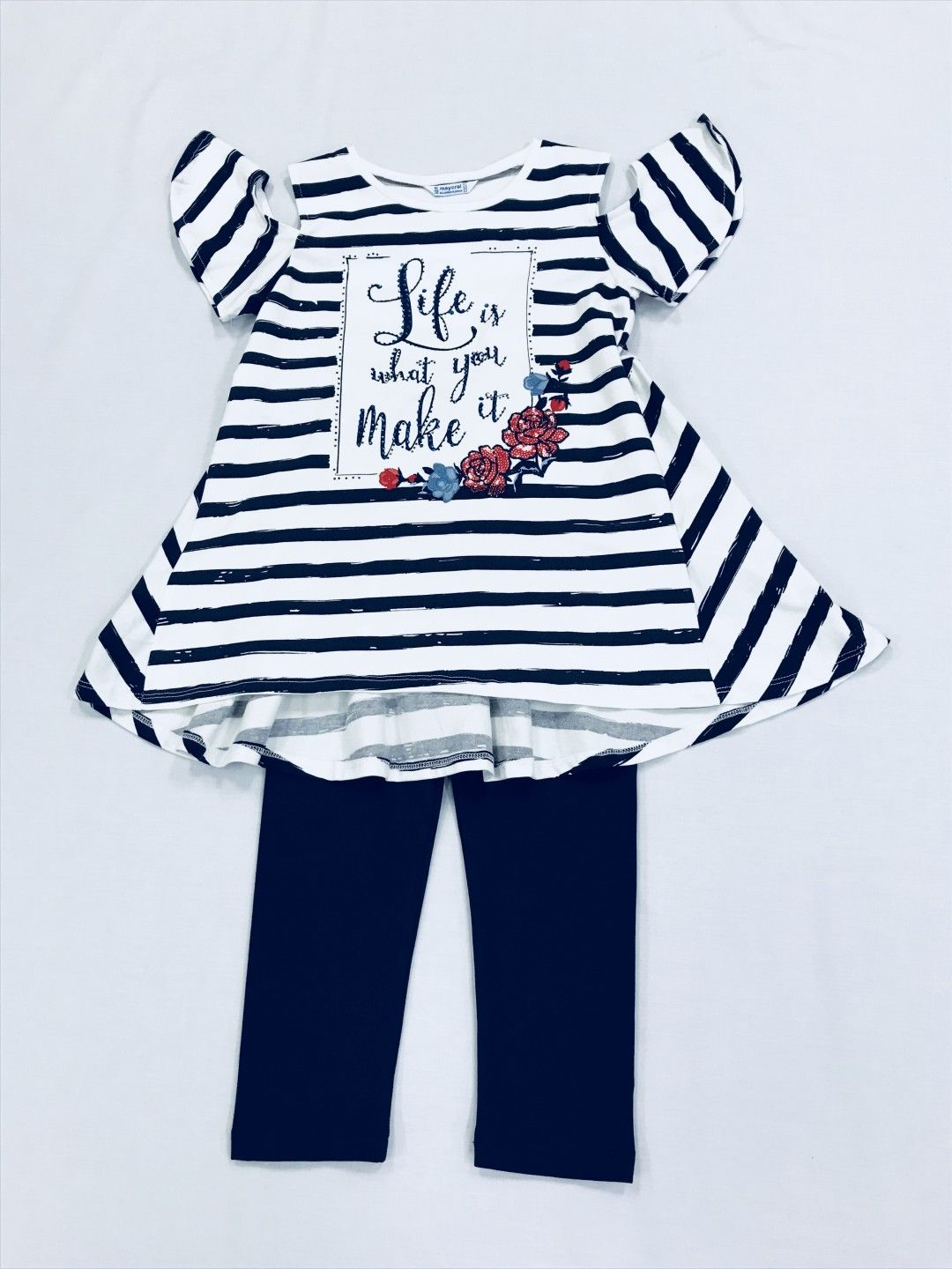 NAVY STRIPED COLD SHOULDER 2-PIECE SET SIZE 8-10