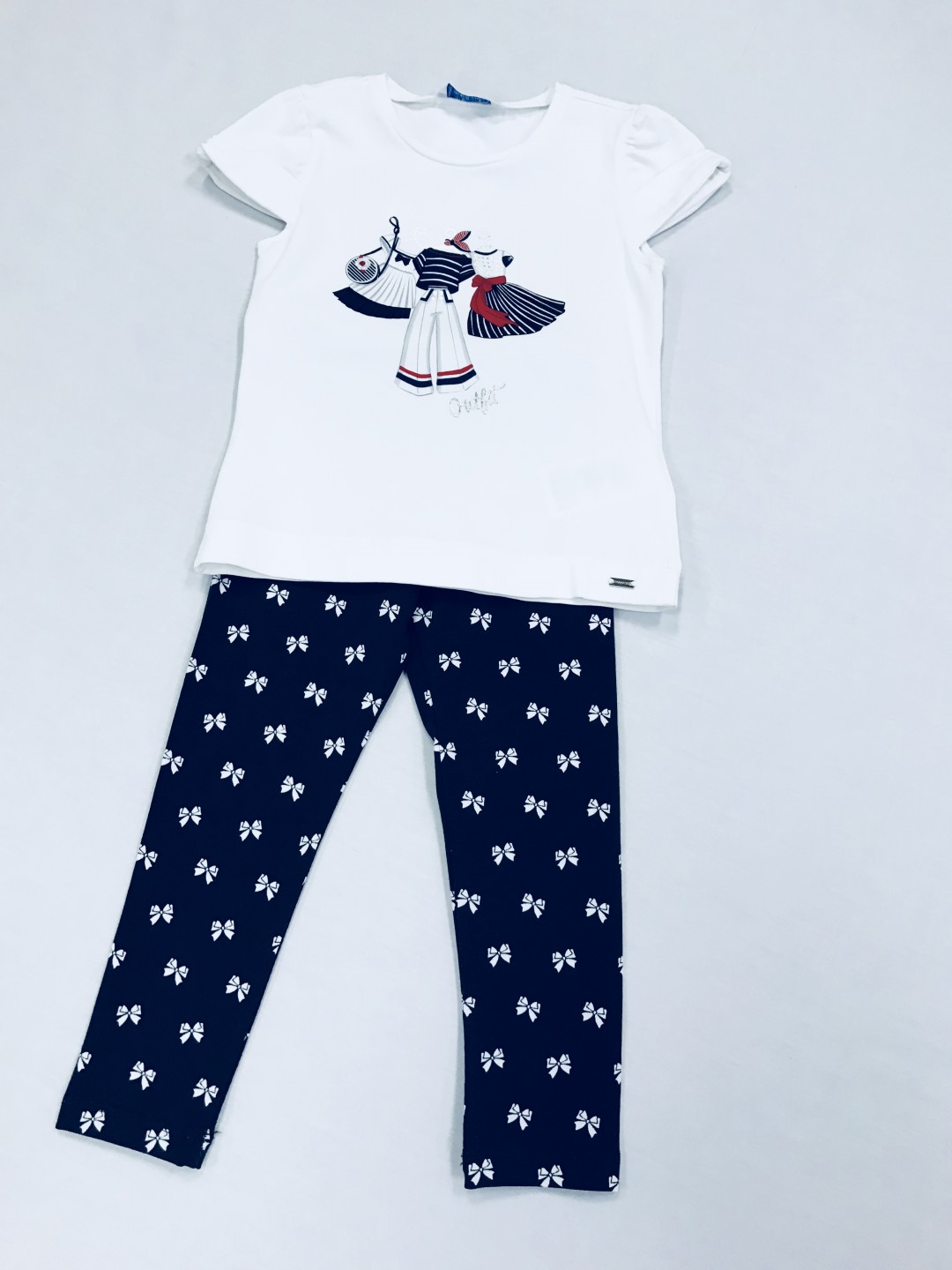 WHITE TOP AND PATTERNED PANTS 2-PIECE SET SIZES 3-7