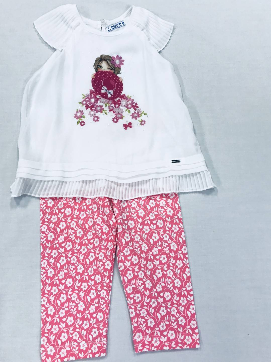 PINK AND WHITE FLORAL 2-PIECE SET SIZES 2-8