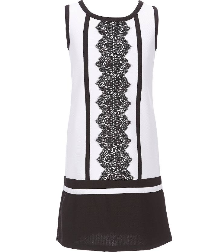 BONNIE JEAN PLUS SIZE BLACK AND WHITE LACE TRIMMED DRESS SIZES 18.5-20.5