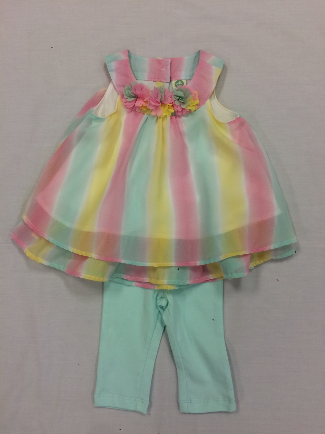 LITTLE ME STRIPED PASTEL 2-PIECE SET SIZES 18 MONTHS-3T