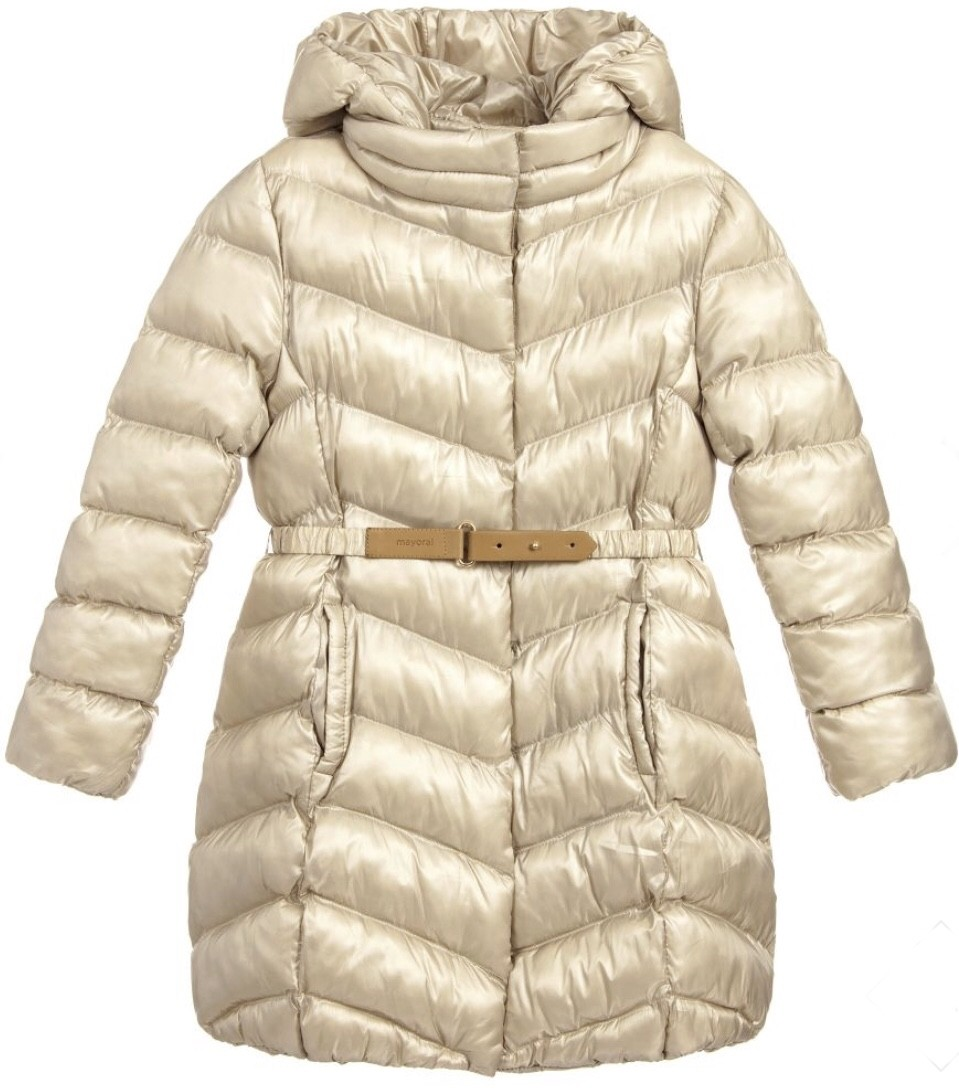 MAYORAL PUFFY CHAMPAGNE COAT WITH BELT