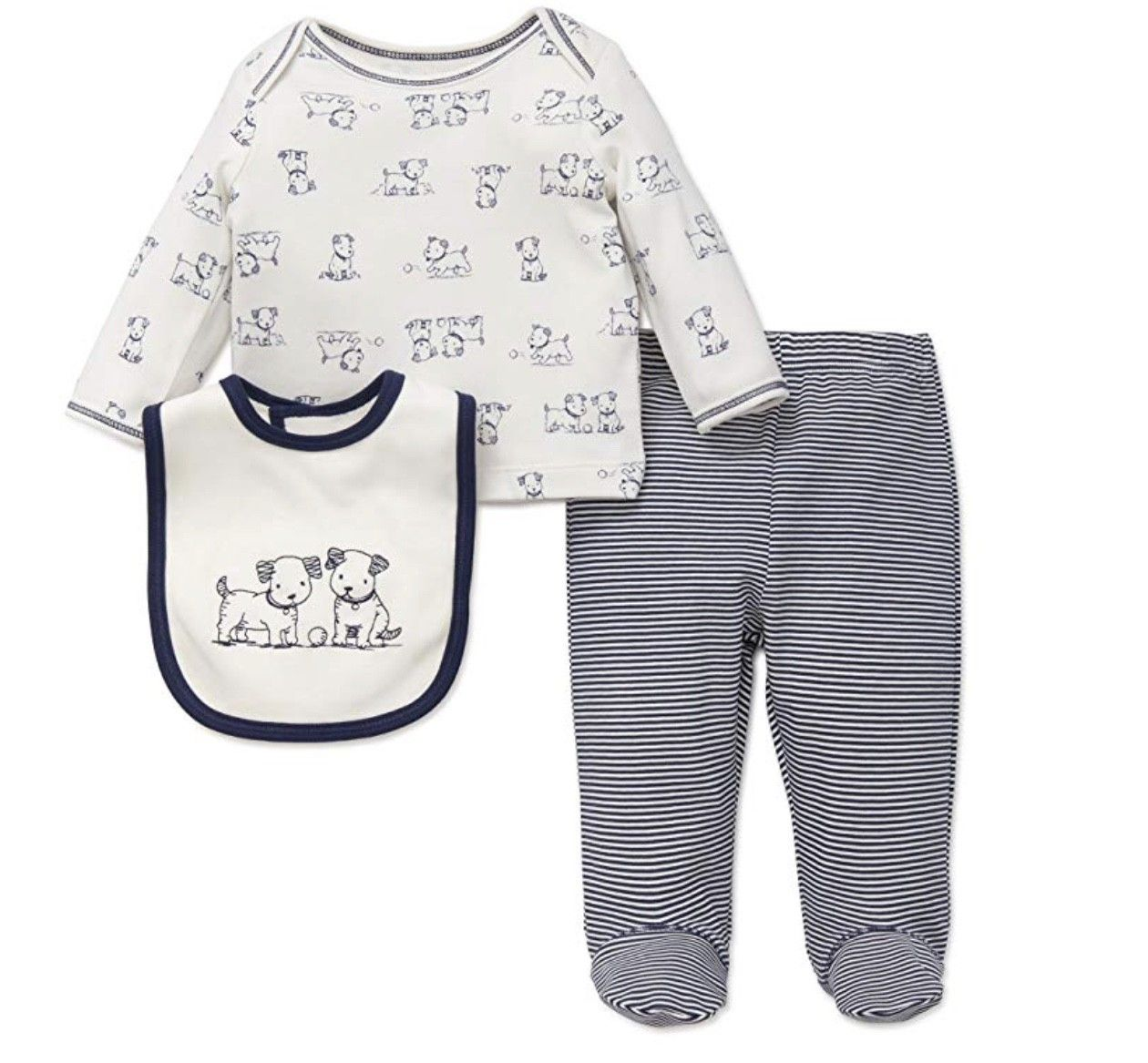 LITTLE ME LAP SHOULDER SET WITH BIB NAVY MULTI WITH DOGS