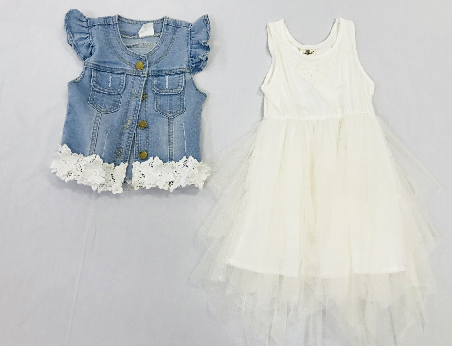 ML KIDS WHITE DRESS AND JEAN VEST 2-PIECE SET SIZES 2T-4T