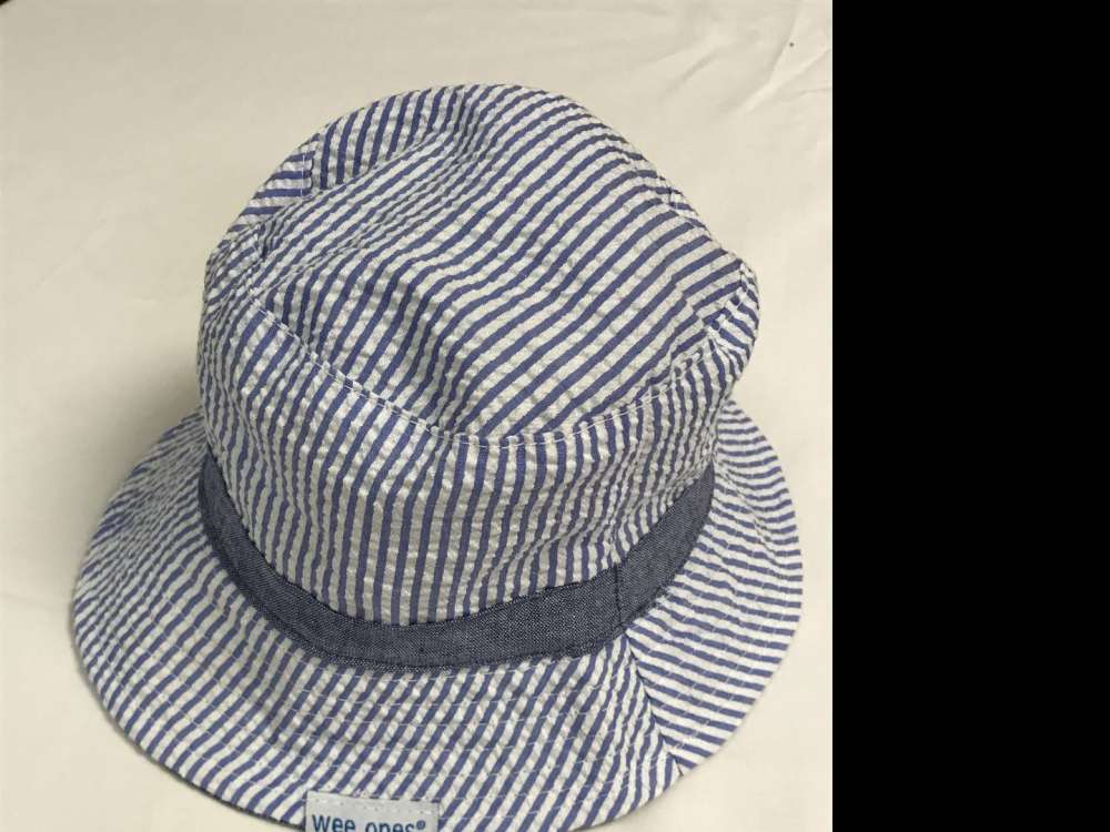 WEE ONES REVERSIBLE BLUE AND WHITE STRIPED SUN HAT SIZES 0-18 MONTHS