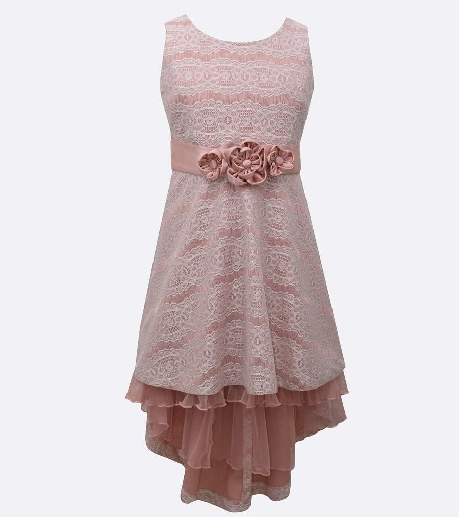 BONNIE JEAN PLUS SIZE PINK LACE HIGH-LOW DRESS SIZE 20.5