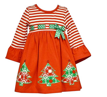 BONNIE JEAN RED, WHITE AND GREEN CHRISTMAS TREE DRESS