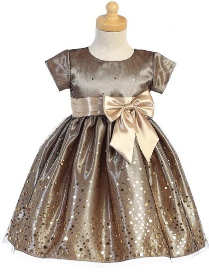 SWEA PEA & LILLI GOLD POLKA DOT BODICE WITH TULLE POLKA DOT BOTTOM DRESS