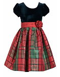 BONNIE JEAN PLUS SIZE HOLIDAY DRESS WITH BLACK VELVET TOP AND PLAID BOTTOM
