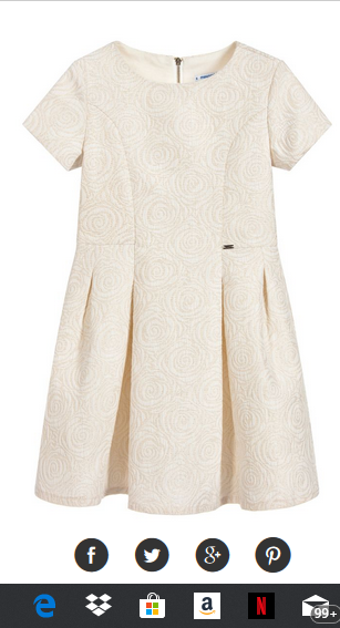MAYORAL IVORY AND GOLD BROCADE DRESS