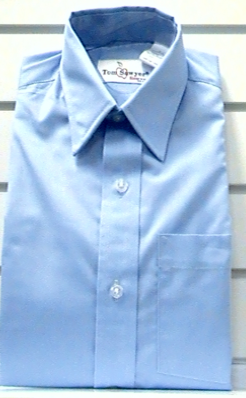 BlueShort SleeveBroadcloth Shirt