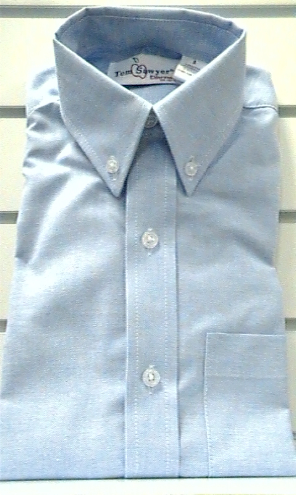 BlueShort SleeveOxfordcloth Buttondown Collar Shirt