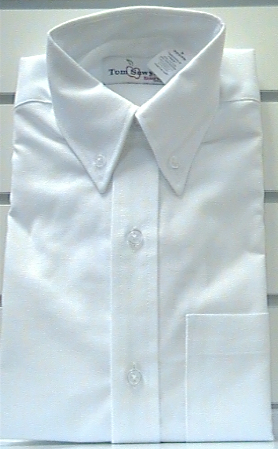 WhiteShort SleeveOxfordcloth Buttondown Collar Shirt