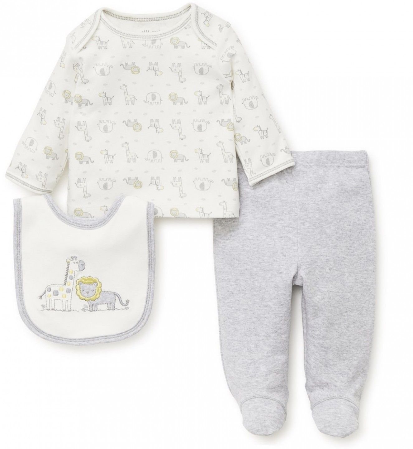 LITTLE ME LAP SHOULDER SET WITH BIB HEATHER GRAY GIRAFFE AND LION