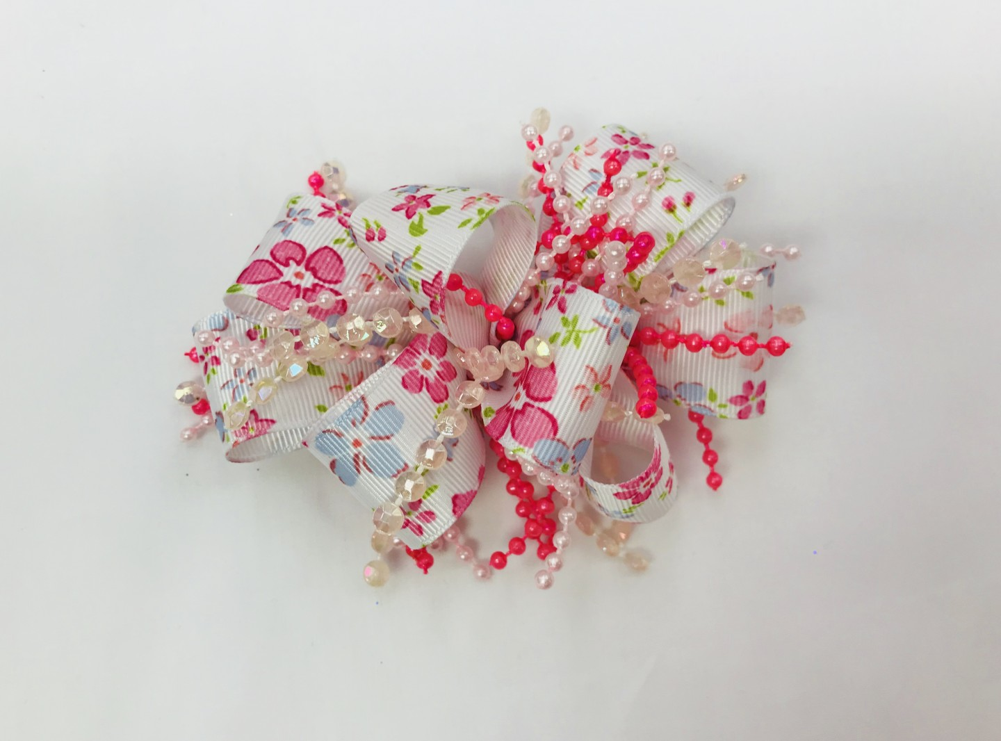 CHEE CHEE PINK AND BLUE FLOWER BOW