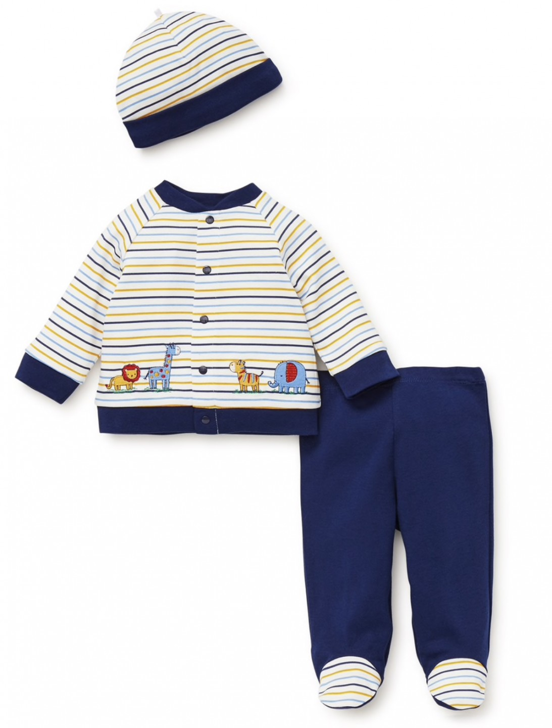 LITTLE ME SAFARI STRIPED CARDIGAN SET