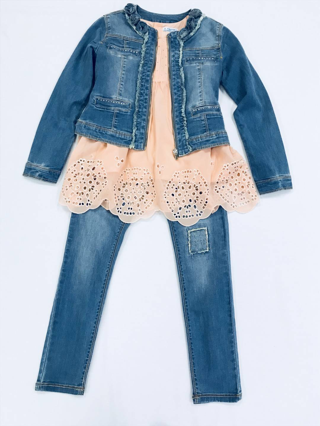 PINK TANK WITH JEAN JACKET AND PANT 3-PIECE SET SIZES 8-14