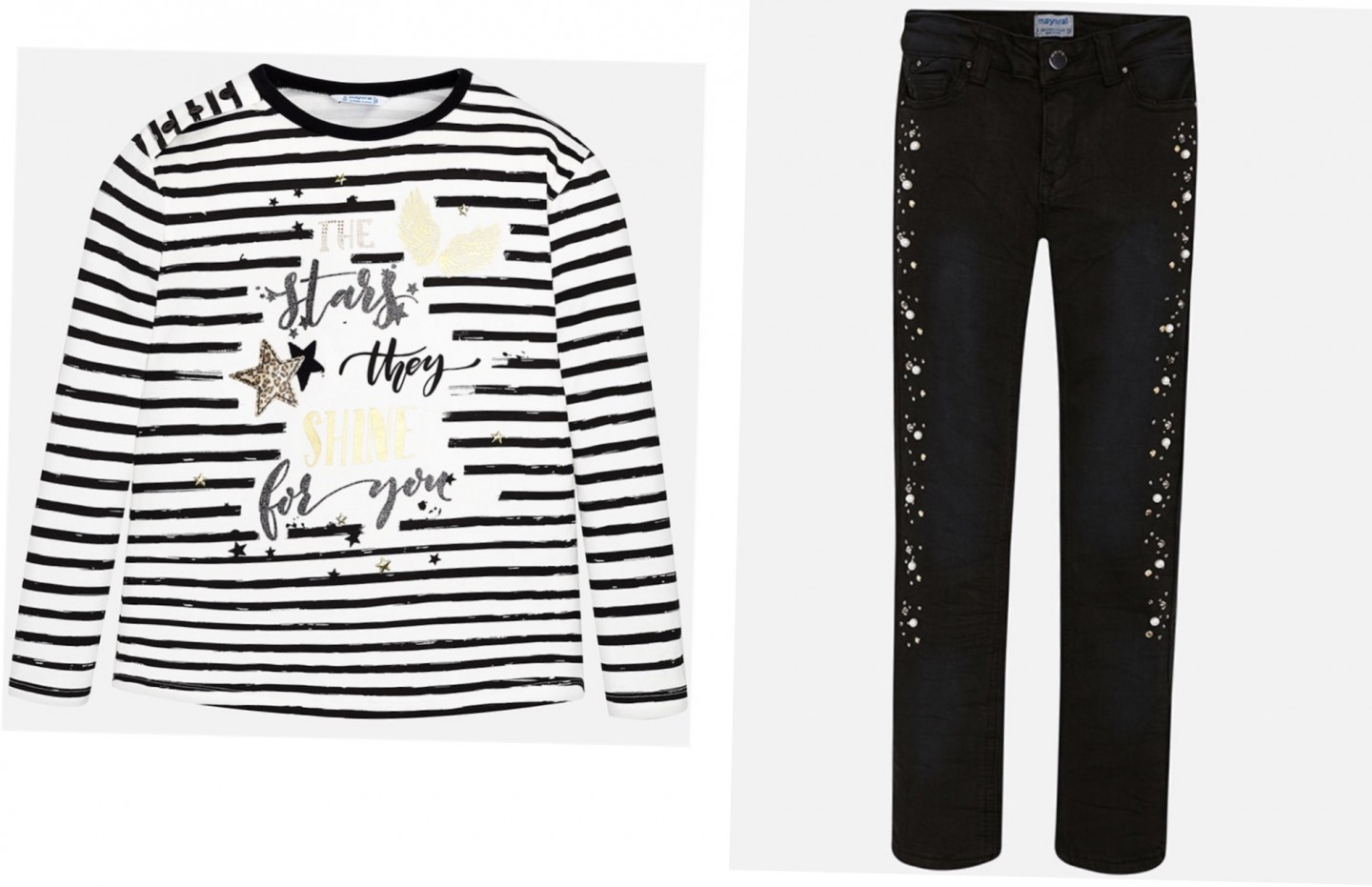 MAYORAL THE STARS THEY SHINE SHIRT AND LONG TROUSERS WITH APPLIQUÉS