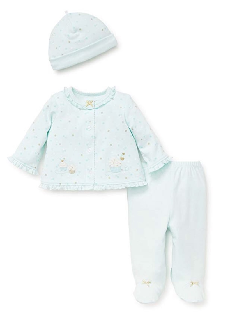 LITTLE ME CARDIGAN SET SEAFOAM CUPCAKES WITH HAT