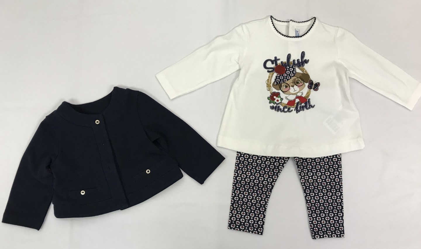 MAYORAL STYLISH SINCE BIRTH RED, WHITE AND BLUE TOP WITH LEGGINGS AND JACKET