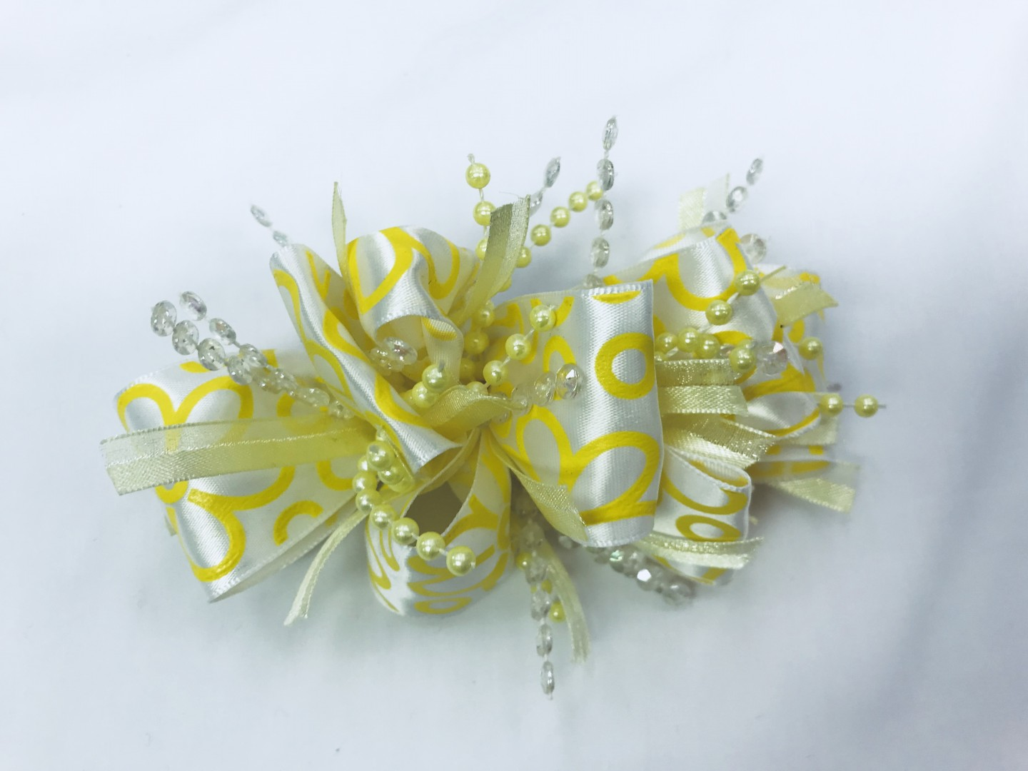 CHEE CHEE YELLOW BEADED BOW