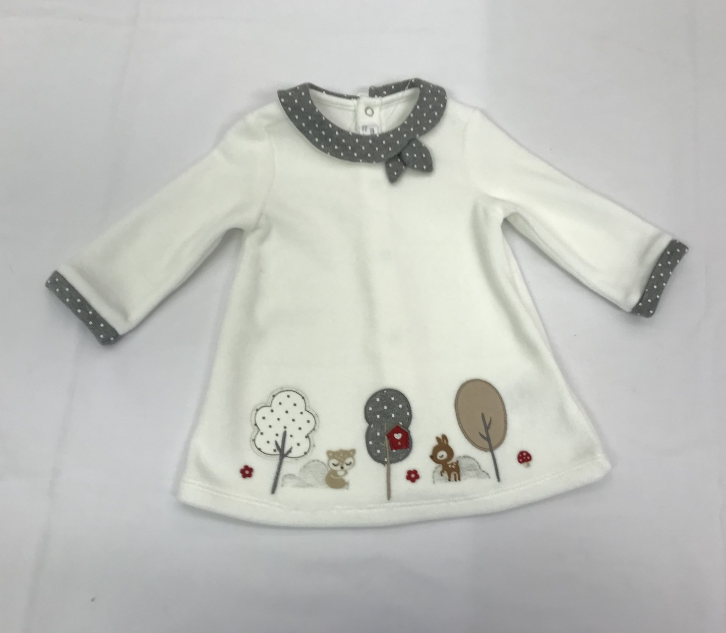 MAYORAL WHITE AND GREY SQUIRREL AND DEER DRESS