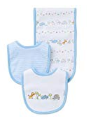 WHITE PRINT BURP AND BIB SET WITH SAFARI ANIMALS