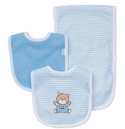 LIGHT BLUE TEDDY BEAR BURP AND BIB SET