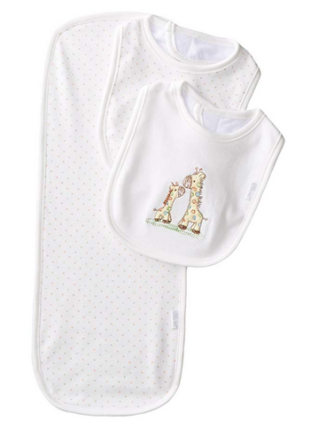 BIB AND BURP SET WITH GIRAFFES