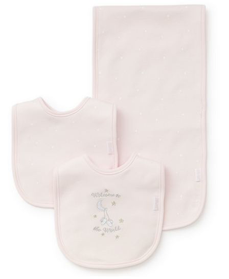 PINK WELCOME TO THE WORLD BURP AND BIB SET