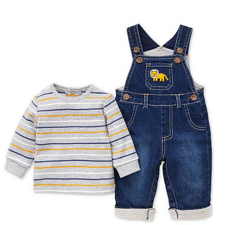 JAUNTY JUNGLE 2 PC DENIM OVERALL SET