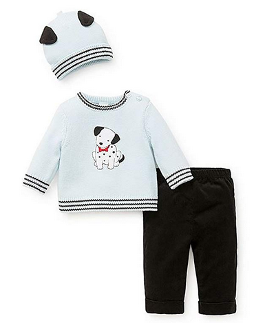 LITTLE ME COZY SPOTS 2 PC SWEATER SET WITH HAT