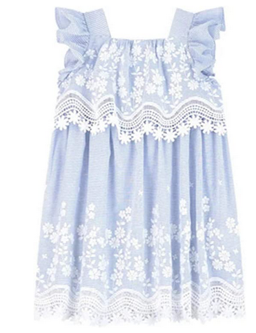 MAYORAL GIRLS BLUE AND WHITE STRIPED DRESS WITH FLORAL EMBROIDERY