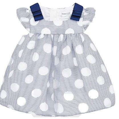 MAYORAL BABY GIRLS NAVY AND WHITE DRESS WITH POLKA DOT AND STRIPE OVERLAY