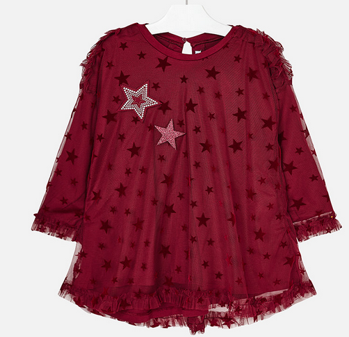 MAYORAL RASPBERRY TULLE DRESS WITH STARS