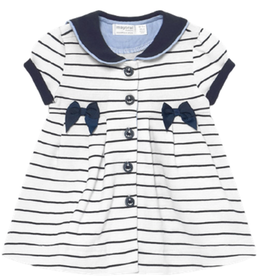 MAYORAL BABY GIRLS NAVY AND WHITE STRIPED DRESS WITH BOW AND ANCHOR ACCENT