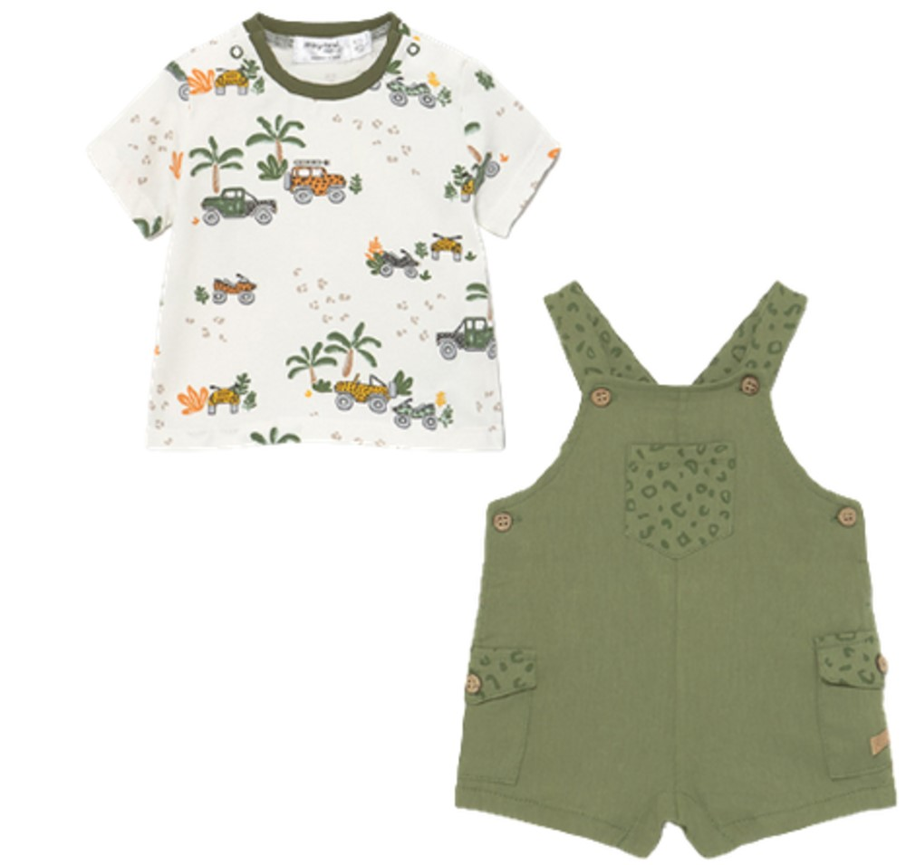 MAYORAL BABY BOYS OLIVE GREEN OVERALL SHORT SET