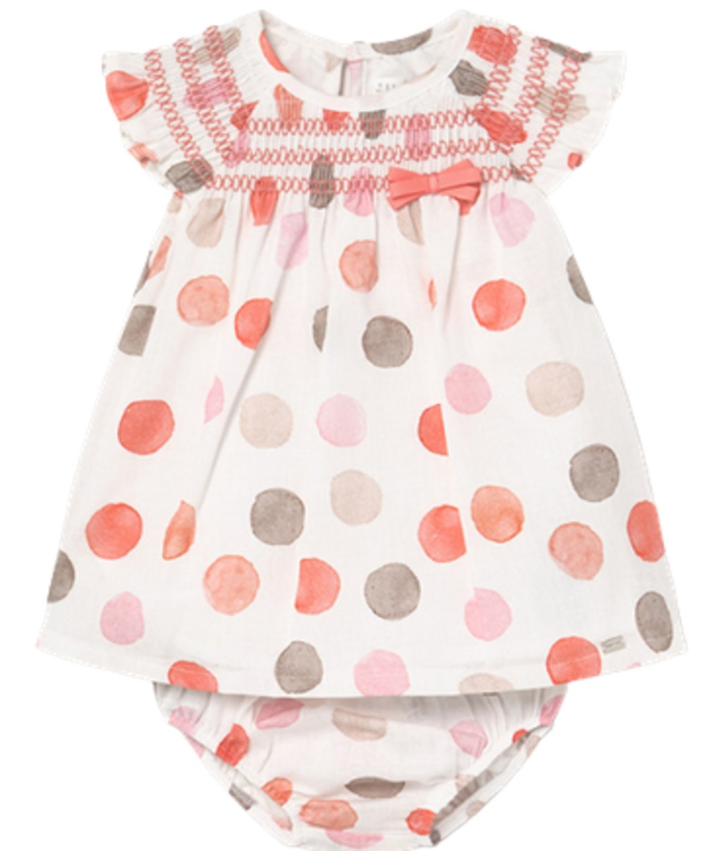 MAYORAL BABY GIRLS SORBET LINEN DRESS WITH POLKA DOTS AND MATCHING PANTIES
