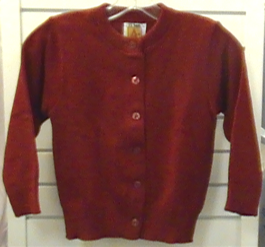 Red Crewneck Cardigan