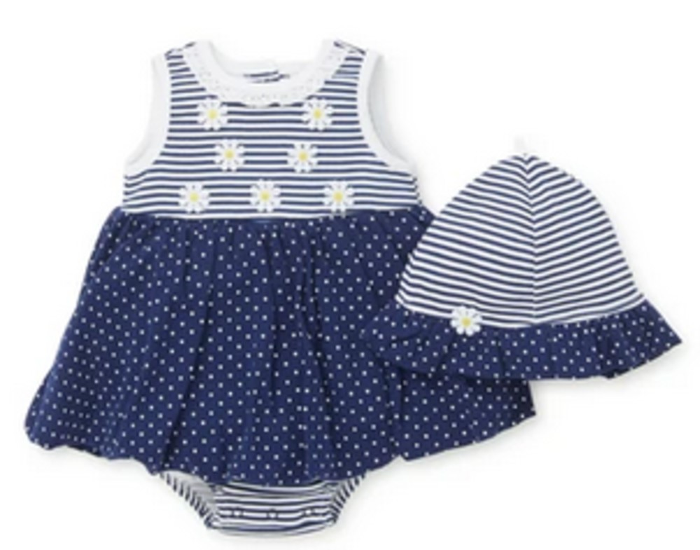 Little Me Daisy Popover Dress with Stripes and DOTS