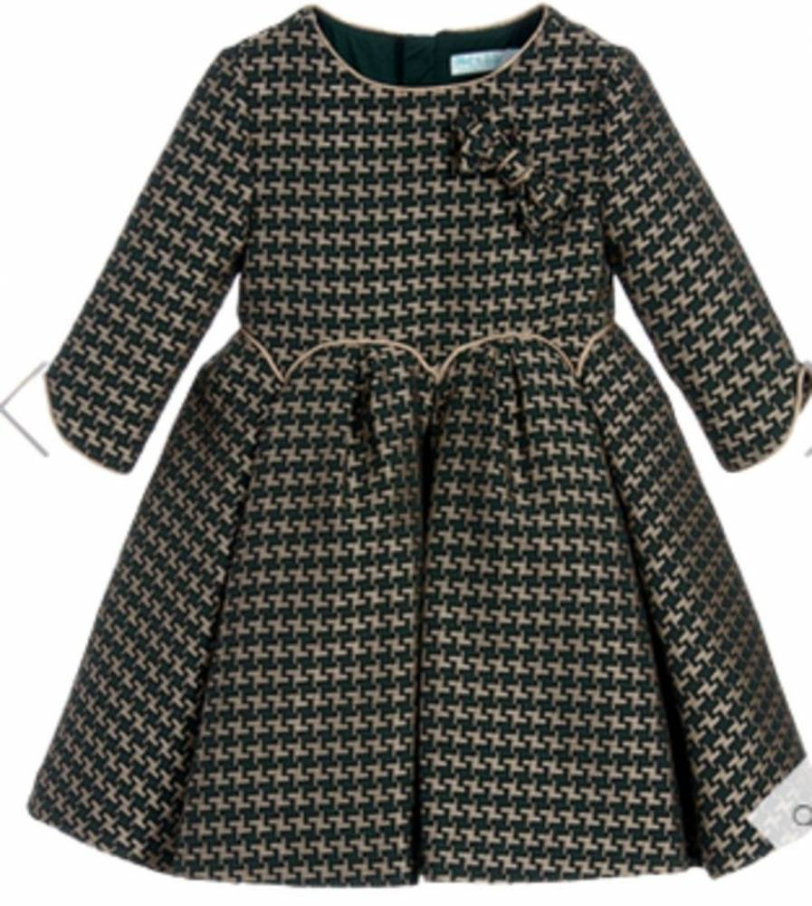 Abel & Lula girls' green and gold jacquard houndstooth dress