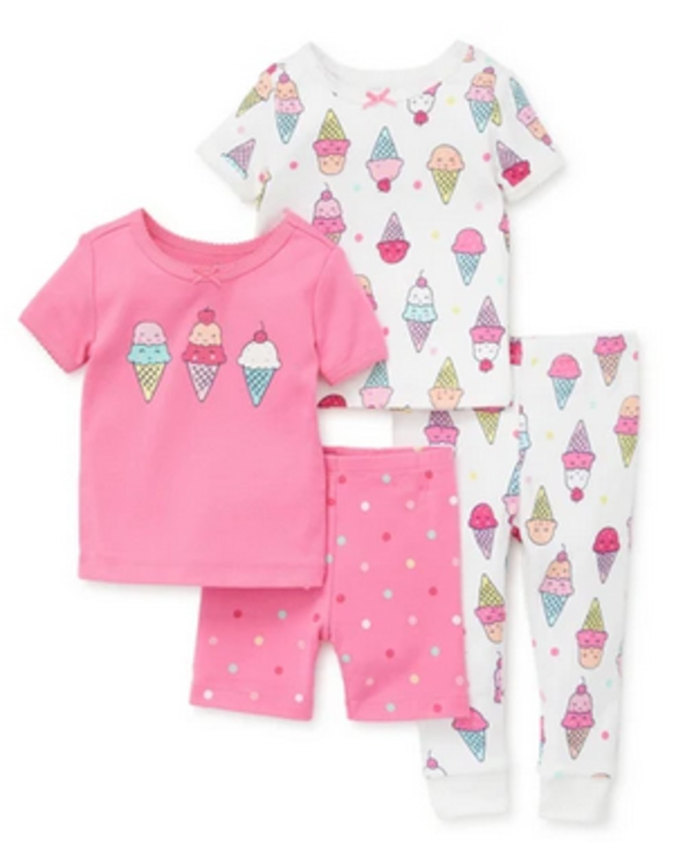 LITTLE ME 4 PIECE ICE CREAM PAJAMA SET NOT FLAME RESISTANT