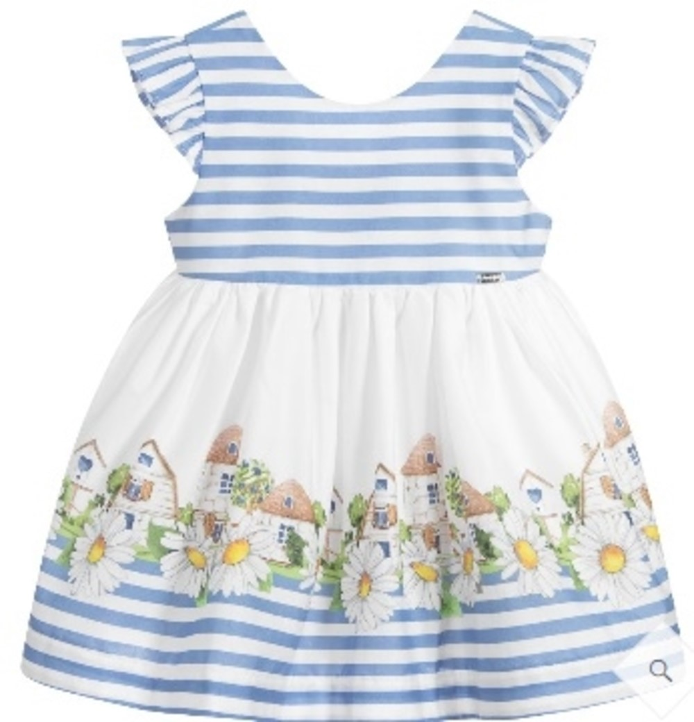 Mayoral Baby Girls' White and Blue Striped Dress with Colorful Houses and Daisy Print